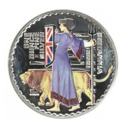 1 oz silver BRITANNIA 2001 colored