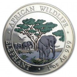 1 oz silver SOMALIA ELEPHANT 2012 colored