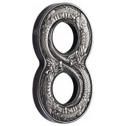 Figure Eight 8 Dragon 2018 2oz Silver Antiqued Coin