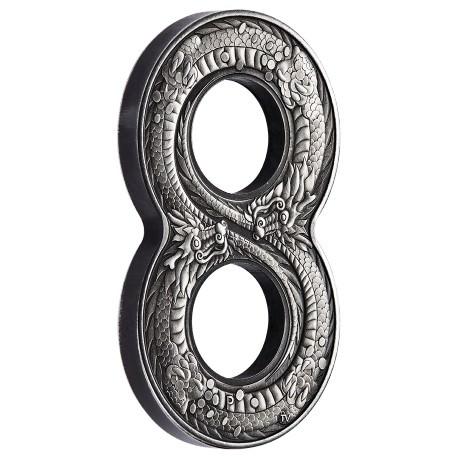 Figure Eight Dragon 2018 2oz Silver Antiqued Coin