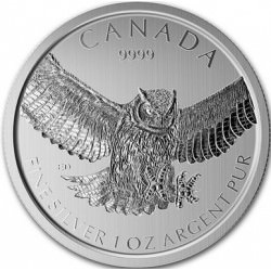 1 oz argent GREAT HORNED OWL 2015