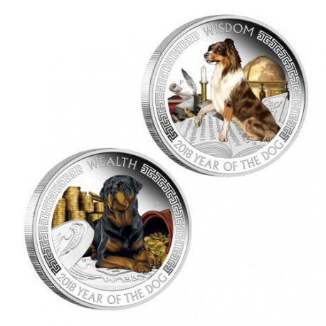Lunar Good Fortune Series - Wealth and Wisdom 2018 1oz Silver Proof Two-Coin Set