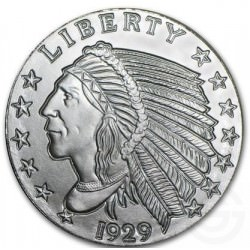 1/2 oz silver INCUSE INDIAN