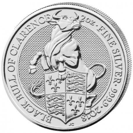 2 oz silver QUEEN'S BEAST 2018 BLACK BULL OF CLARENCE * Pre-sale *
