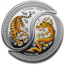 Canada 1/2 oz Silver $10 Tiger and Dragon 2018 Yin and Yang coins