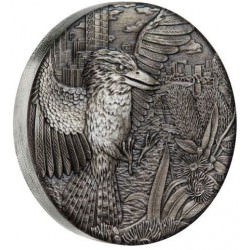Australian Kookaburra 2018 2oz Silver Antiqued High Relief Rimless Coin
