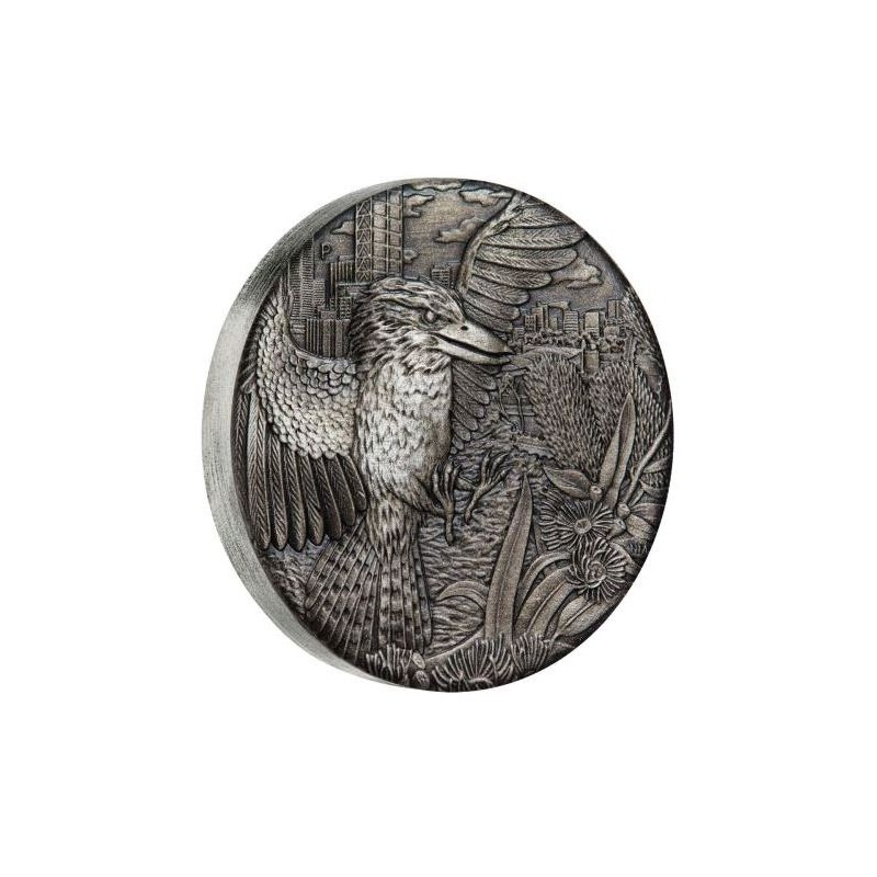 Australian Kookaburra 2018 2oz Silver Antiqued High Relief
