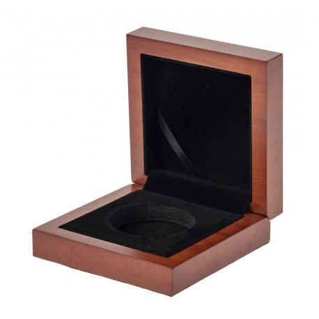 Gift HQ wooden box for 1 oz silver coin 45mm diam
