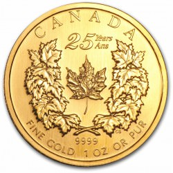 Canada 1 oz gold 25th Anniversary Maple Leaf 2004