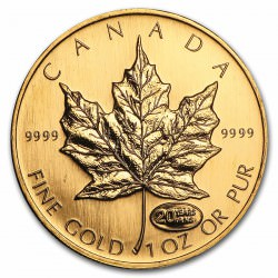 Canada 1 oz gold 20th Anniversary Maple Leaf 1999