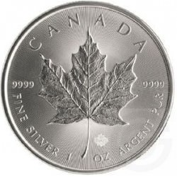1 oz silver MAPLE LEAF $5