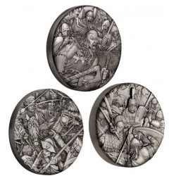 Warfare - 2oz Silver Antiqued High Relief Coins - COMPLETE SERIES PERTH MINT
