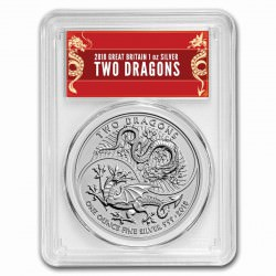 1 oz silver 2 DRAGONS 2018 U.K. £2