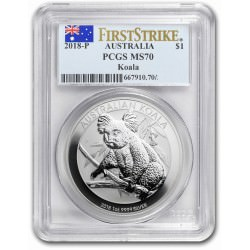 1 oz silver KOALA 2018 PCGS MS-70 First Strike