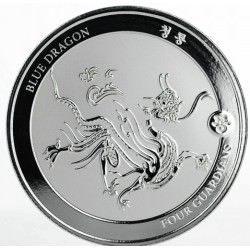 1 oz silver FOUR GUARDIANS - BLUE DRAGON 2018 500CFA + 1BTC