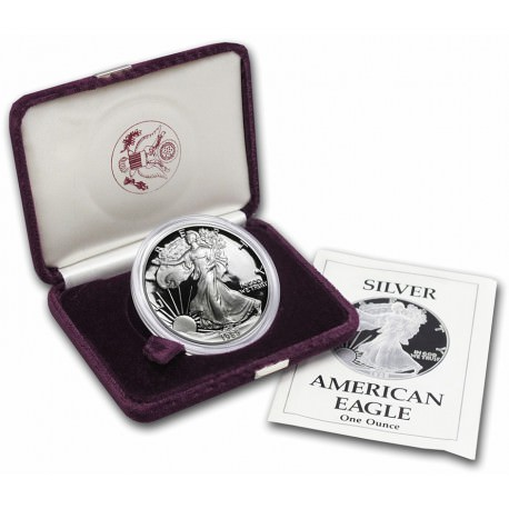 1 oz silver US EAGLE 1989 PROOF - box + coa