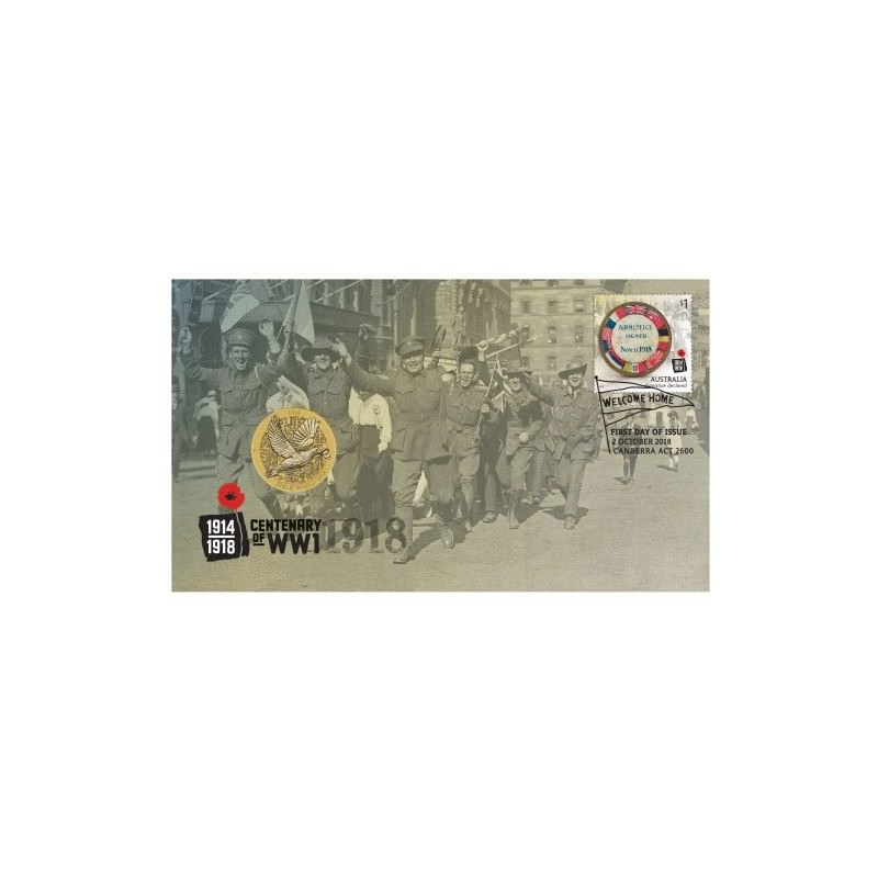 End Of World War I 100th Anniversary 2018 Stamp And Coin