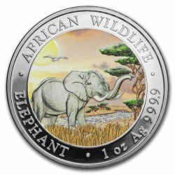 1 oz silver SOMALIA ELEPHANT 2019 colored