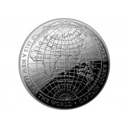 RAM 1 oz silver 1812 NEW MAP of the WORLD 2019 Domed coin Proof Box + coa