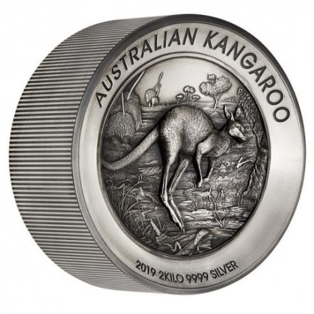 Australian Kangaroo 2019 2 Kilo Silver Antiqued High