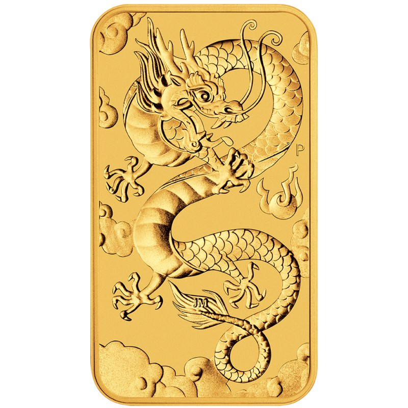 Perth Mint 1 Oz Rectangle Dragon 100 Bar 2019 Gold