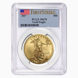 1 oz AMERICAN GOLD EAGLE 2017 PCGS MS-70 $50 FS