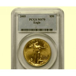 1 oz AMERICAN GOLD EAGLE 2005 PCGS MS-70 $50