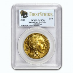 1 oz GOLD AMERICAN BUFFALO 2010 PCGS MS-70 FS $50