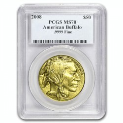1 oz GOLD AMERICAN BUFFALO 2008 PCGS MS-70 $50