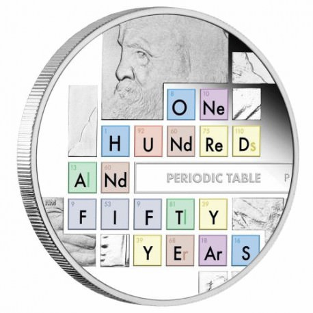 150th Anniversary of the Periodic Table 2019 1oz Silver Proof Coin MENDELEEV