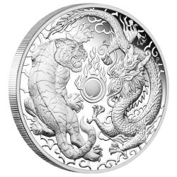 1 oz silver DRAGON & TIGER 2019 PROOF box + coa