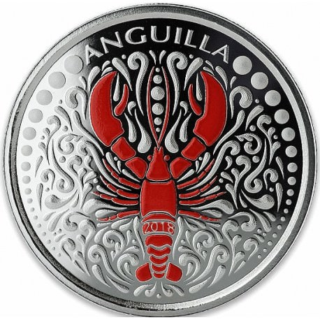 1 oz silver LOBSTER 2018 Eastern Caribbean N°6 / 8 Colored ProofCoa + box
