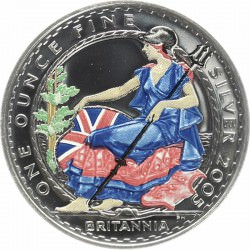 1 oz silver BRITANNIA 2005 COLORED !