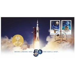 50th Anniversary of Moon Landing 2019 Stamp and Coin Cover