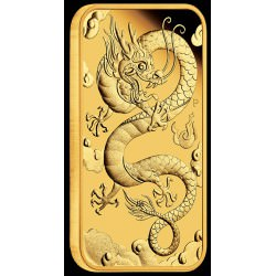 Perth Mint 1 oz RECTANGLE DRAGON $100 BAR 2018 GOLD PROOF Box+ Coa